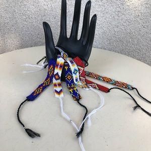 Boho beaded ankle wrist tie bracelets set 6